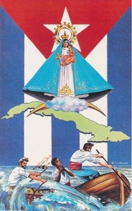 Resultado de imagen para Virgen de la Caridad del Cobre + bandera cubana