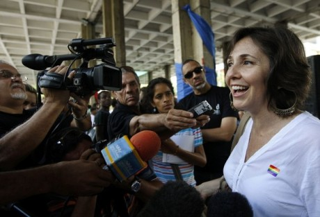 Mariela Castro, head of Cuba's National Center for Sex Education, talks during an event to commemorate The International Day Against Homophobia in Havana